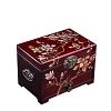 Vue de 3/4 de la boîte à bijoux originale rouge 'arbre en fleurs'