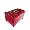 Vue de 3/4 de la boîte à bijoux originale rouge rosace