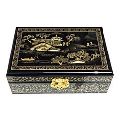 Dessus de la boîte avec une vue de Suzhou peinte en or sur fond noir