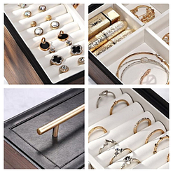 Collage de quatre photos : détails du couvercle et des plateaux de la boîte