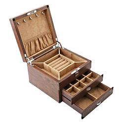 Vue de 3/4 de la boîte en bois à 2 tiroirs (couvercle et tiroirs ouverts)
