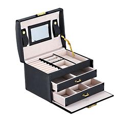 Vue de 3/4 de la boîte à bijoux en cuir (tous compartiments ouverts)