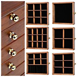 Vue aérienne des compartiments de la grande boîte à bijoux à 10 tiroirs