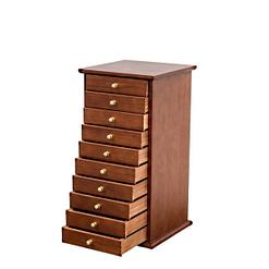 Vue de 3/4 de la grande boîte à bijoux à 10 tiroirs (tiroirs ouverts)