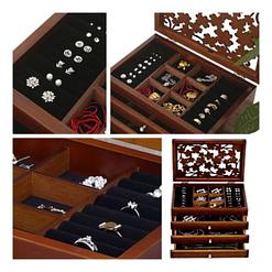 4 photos montrent les tiroirs ouverts de la grande boîte à bijoux en verre et bois