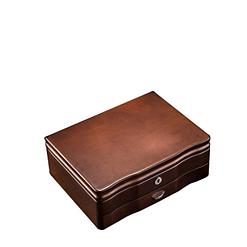 Vue de 3/4 de la boîte à bijoux de luxe à tiroir (fermée)
