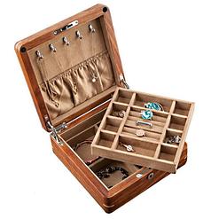Vue de 3/4 de la boîte à bijoux en bois avec compartiment (avec plateau soulevé)