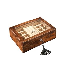 Vue de 3/4 de la boîte à bijoux en bois transparente (refermée)