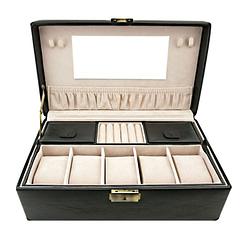 Vue de face de la boîte à bijoux en cuir pour montres (ouverte)