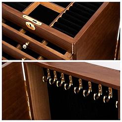 2 photos montrent les détails de la grande boîte à bijoux à 9 tiroirs (crochets et compartiments intérieurs)