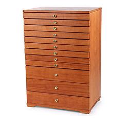 Vue de 3/4 de la grande boîte à bijoux à 12 tiroirs (fermée)