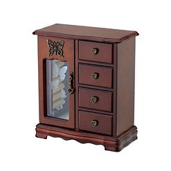 Vue de 3/4 de la grande boîte à bijoux avec vitre et tiroirs (fermée)