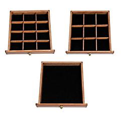Vue aérienne de 3 tiroirs de la grande boîte à bijoux à 9 tiroirs