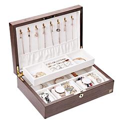 Vue de 3/4 de la boîte à bijoux bois compartiment et montres (ouverte, avec bijoux)