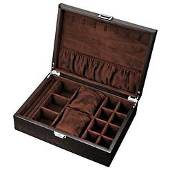 Vue de 3/4 de la boîte à bijoux en bois fait main (ouverte)