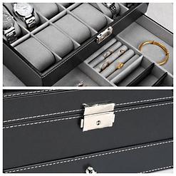 Collage de 2 photos détaillant la boîte à bijoux en cuir 'joyaux et montres' (compartiment et fermoir)