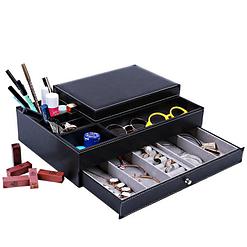 Vue de 3/4 de la boîte à bijoux en cuir tendance (tiroir inférieur ouvert, avec bijoux et crayons)