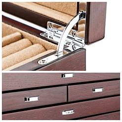 Détails de la grande boîte à bijoux en bois à 6 tiroirs (charnière et poignées des tiroirs)