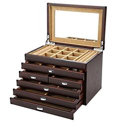 Vue de 3/4 de la grande boîte à bijoux en bois à 6 tiroirs (ouverte)