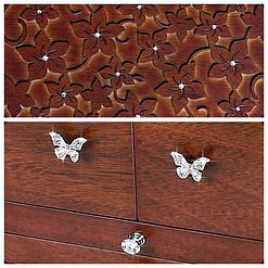 Collage de 2 photos présentant le couvercle et les tiroirs de la grande boîte à bijoux en bois à compartiments