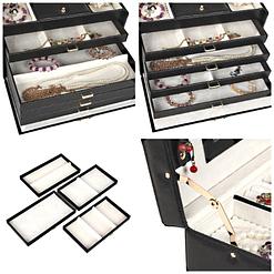 Collage de 4 photos présentant des détails de la boîte à bijoux en cuir à 4 tiroirs (compartiments)