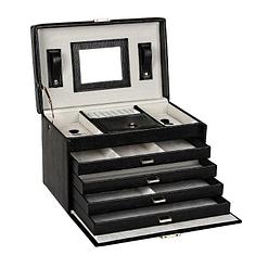 Vue de 3/4 de la boîte à bijoux en cuir à 4 tiroirs (ouverte)