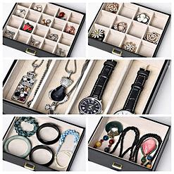 Collage de 4 photos présentant des détails de la boîte à bijoux en cuir à 5 tiroirs (compartiments)
