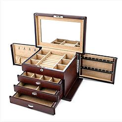 Vue de 3/4 de la grande boîte à bijoux en bois naturel (ouverte)