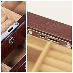 Collage de 2 photos présentant la serrure de la grande boîte à bijoux en bois naturel