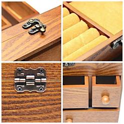 collage de 4 photos des détails de la boîte à bijoux en bois tiroirs et verre (fermoir, charnière et compartiments)