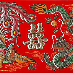 Motif peint sur le couvercle de la boîte à bijoux originale 'Dragon et Phénix'