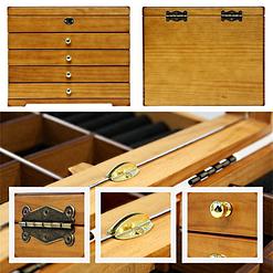 Collage de photos présentant des détails de la boîte à bijoux à 4 tiroirs (1/2)