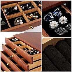 Collage de photos présentant des détails de la boîte à bijoux à 5 tiroirs