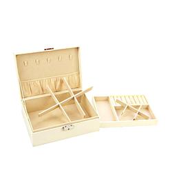 Boîte à bijoux aspect cuir blanc ouverte, vue sur les compartiments
