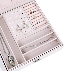 Plateau de la boîte à bijoux en cuir blanc moderne