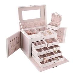 Vue de 3/4 de la boîte à bijoux en cuir blanc à compartiments (tous compartiments ouverts)
