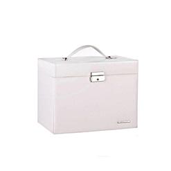 Vue de 3/4 de la boîte à bijoux en cuir blanc à compartiments (fermée)