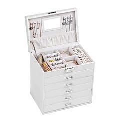 Vue de 3/4 de la boîte à bijoux en cuir blanc design (ouverte)