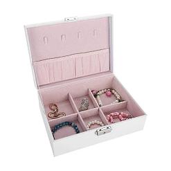 Vue de 3/4 de la boîte à bijoux en cuir blanc rectangulaire (ouverte)
