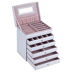 Vue de 3/4 de la boîte à bijoux en cuir à 5 tiroirs blanc (ouverte)