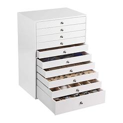 Vue de 3/4 de la boîte à bijoux en cuir à 10 tiroirs blanc (ouverte)
