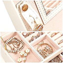 collage de 2 photos montrant les compartiments de la boîte à bijoux en cuir blanc