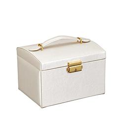 Vue de 3/4 de la boîte à bijoux en cuir blanc (fermée)