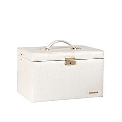 Vue de 3/4 de la boîte à bijoux en cuir à 4 tiroirs blanc (fermée)