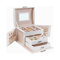 Vue de 3/4 de la boîte à bijoux en cuir blanc à 2 tiroirs et portes (ouverte)
