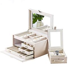 Vue de 3/4 de la boîte à bijoux en cuir modulable blanc, ouverte avec boîte additionnelle