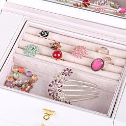 Plateau de la boîte à bijoux en cuir blanc tiroirs et portes