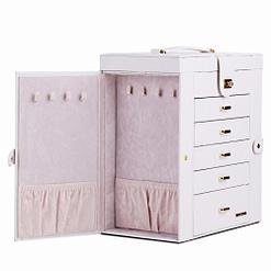 Vue de 3/4 de la boîte à bijoux en cuir blanc tiroirs et portes (ouverte)
