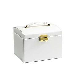 Boîte à bijoux en cuir blanc '2 tiroirs et porte-bagues' (présentée fermée)