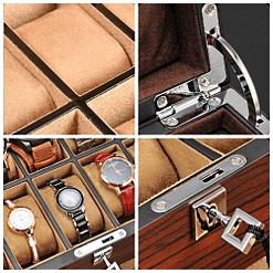 Collage de 4 photos présentant les détails de la boîte à bijoux pour homme